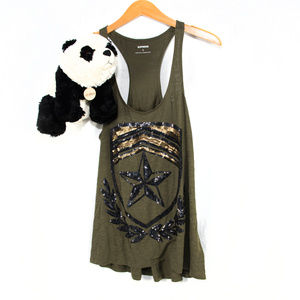 NWT Express army green squin tank